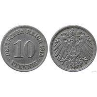 YS: Германия, Рейх, 10 пфеннигов 1912D, KM# 12 (2)