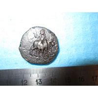 Монета тетрадрахма. Древнее Кушанское царство. Кушаны. Медь
