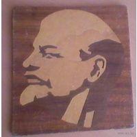 Деревянный портрет В.И. Ленина. Инкрустация. Ручная работа.
