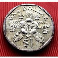 114-19 Сингапур, 1 доллар 1994 г. Единственное предложение монеты данного года на АУ