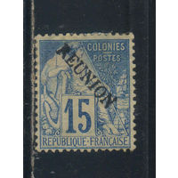 Fr Колонии Реюньон 1881 Вып Сидящая богиня торговли Надп Стандарт #22*