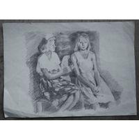 Крохалев Петр. Две девочки. Рисунок. Бумага. карандаш. 21х29,5 см.