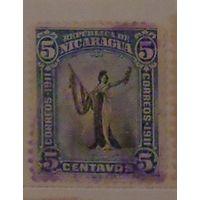Символическая женская фигура с флагом. Никарагуа. Дата выпуска: 1912-01-01