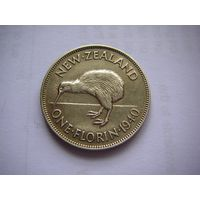 Новая Зеландия (Георг VI ) 1 Флорин 1940 г./ Птица Киви / серебро-самый редкий год!