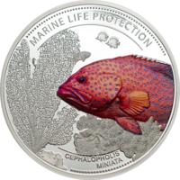 """Палау 5 долларов 2016г. """"Красный Групер"""". Монета в капсуле; сертификат. СЕРЕБРО 25гр."""