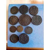 Лот царских монет + 3 старых пуговицы