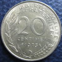 1k Франция 20 сантимов 1973 распродажа коллекции