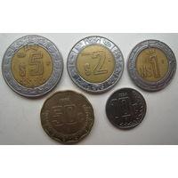 Мексика 10 сентаво 1994, 50 сентаво 1998, 1 песо 1994, 2 песо 2000, 5 песо 1997 гг. Цена за комплект (u)