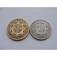 Марокко. 2 монеты 50 франков 1952 год 5 франков 1951 год Y#48 Y#51