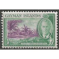 Кайманы. Король Георг VI. Вид на пляж. 1950г. Mi#124.