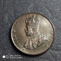 G Стрейтс-Сетлментс 50 центов 1920 г. Георг 5-й СЕРЕБРО редкая