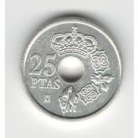 Испания 25 песет 2001 года. Серебро 925 проба. Штемпельный блеск! Состояние UNC! Редкая!
