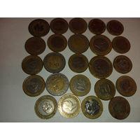 24 биметалические монеты разных стран