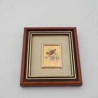 Винтажная миниатюра Италия ORO FOGLIA - хромолитография, стекло, золото, 10 х 9 см Птица 2