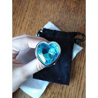 Анальная пробка. средняя 82*34 мм, металл, голубой камень сердце, новая