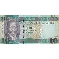 Южный Судан 10 фунтов 2016 года (UNC)