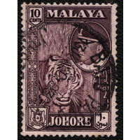 Кошки. Малайя, Джохор. 1960. Тигр. Марка из серии. Гаш.
