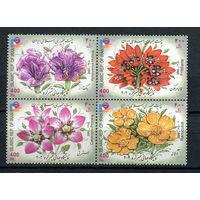 Иран - 2002 - Цветы. Международная филателистическая выставка - сцепка - [Mi. 2895-2898] - полная серия - 4 марки. MNH.