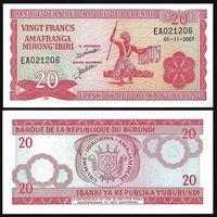 Бурунди - 20 франков - 2007 г. - UNC