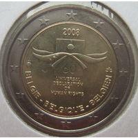 Бельгия 2 евро 2008 г. 60-я годовщина принятия Всеобщей декларации прав человека. В холдере