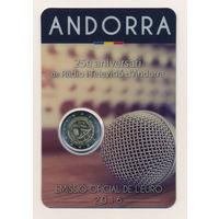 Андорра 2 евро 2016, 25 лет радио-телерадиовещанию в Андорре BU