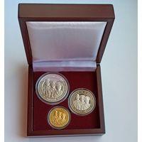 Белорусская милиция. 100 лет, 2017, подарочный набор из 3 монет номиналами 1, 20 и 50 рублей в деревянном футляре, Раритет!