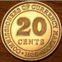 20 центов 1939г. Британская Малайя.