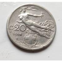 Италия 20 чентезимо, 1908 2-11-12