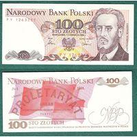 Польша 100 злот 1986 г.  UNC