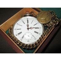 Большие(0,242 кг) КОВРОВЫЕ ДОРОЖНЫЕ СЕРЕБРЯНЫЕ! часы 15 рубинов Швейцария для Франции кон.19 века.