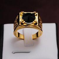 """Перстень мужской под """"золото"""" с конусообразным чёрным камнем. распродажа"""