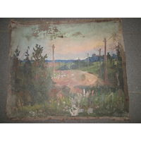 Картина довоенная холст,масло Н/Х.Р-р 58х49 см