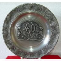 BMF.Олово.Подарочная тарелка-панно,40 лет.24см.3Д