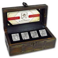 """Джибути 250 франков 2018г. Набор: """"Три мушкетёра"""". Монеты в стилизованном деревянном сундуке; сертификат; коробка. СЕРЕБРО 4х31,135гр.(4 oz)."""