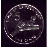 5 центов 1997 год Эритрея