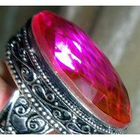 Яркое коктейльное кольцо с крупным Турмалиновым Кварцем