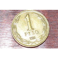 1 песо 1989 Чили КМ# 216.2 алюминиевая бронза