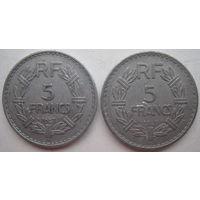 Франция 5 франков 1947, 1949 гг. Цена за 1 шт. (g)