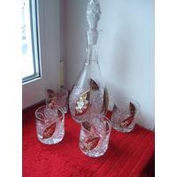 Богемский хрусталь - золотая лепка.Шикарный хрустальный набор: графин с пробкой и 4 стакана.