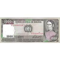 Боливия 1000 песо 1982 UNC