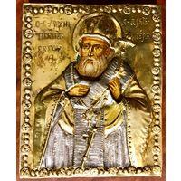 Икона Святитель Арсений Сербский;18века серебряный толстый оклад