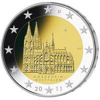 2 евро 2011 Германия A Федеральные земли Германии - Кёльнский собор UNC из ролла
