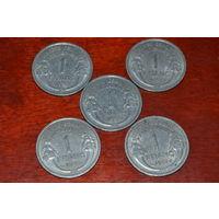 1 франк 1957 Франция KM# 885a.1 алюминий