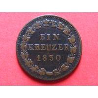 1 крейцер 1830 года (герцогство Нассау)