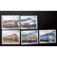 Таджикистан 1998 г. Локомотивы. Поезда. Железная дорога. 5 марок #0050-Т1
