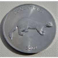 """Конго.  25 сентаво 2002 год  KM#76  """"Ласка"""""""