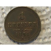 RARE Австрия 1 крейцер 1851 года А ИДЕАЛЬНОЕ СОСТОЯНИЕ UNC