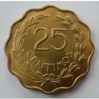 "Парагвай 25 сентимо 1953 ""Девиз на аверсе: мир и справедливость. Лев"""
