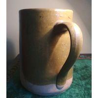 Большая кружка с ухом кубок поливаная глина глазурь гончарное ремесло ружанская керамика Редкость