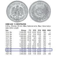 Мексика 5 больших сентаво 1925 Редкая /(JL)
